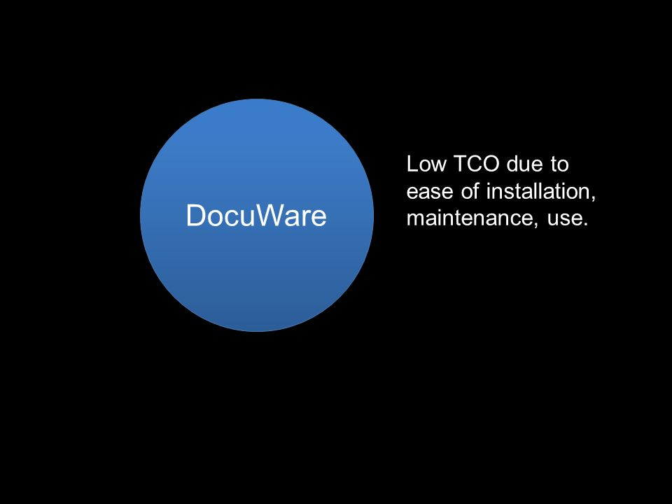 DocuWare Low TCO due to ease of installation, maintenance, use.