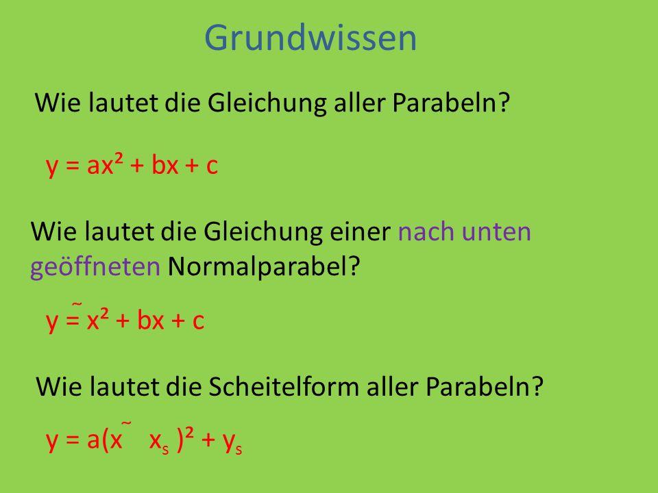 Grundwissen Wie lautet die Gleichung aller Parabeln y = ax² + bx + c