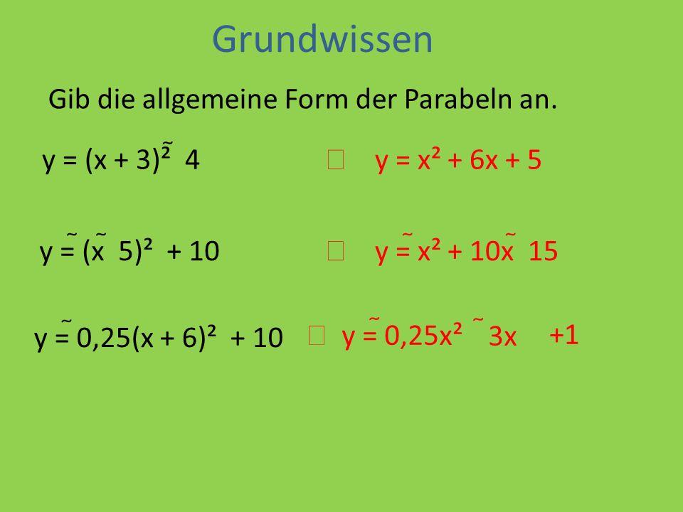 Grundwissen Gib die allgemeine Form der Parabeln an. y = (x + 3)²  4
