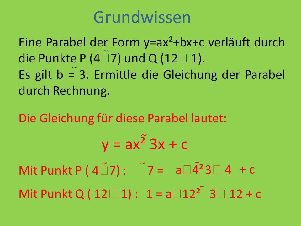 Grundwissen y = ax² 3x + c
