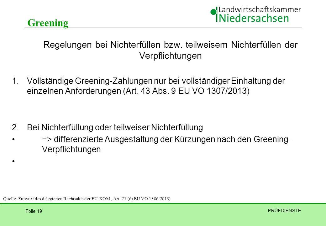 Greening Regelungen bei Nichterfüllen bzw. teilweisem Nichterfüllen der Verpflichtungen.