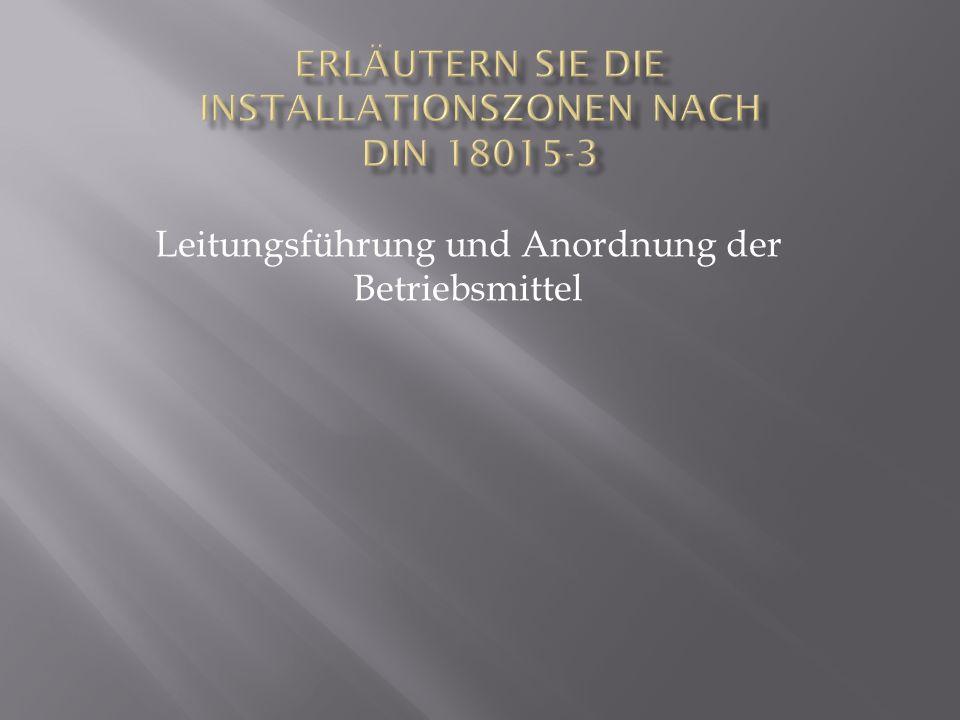 Erläutern Sie die Installationszonen nach DIN 18015-3