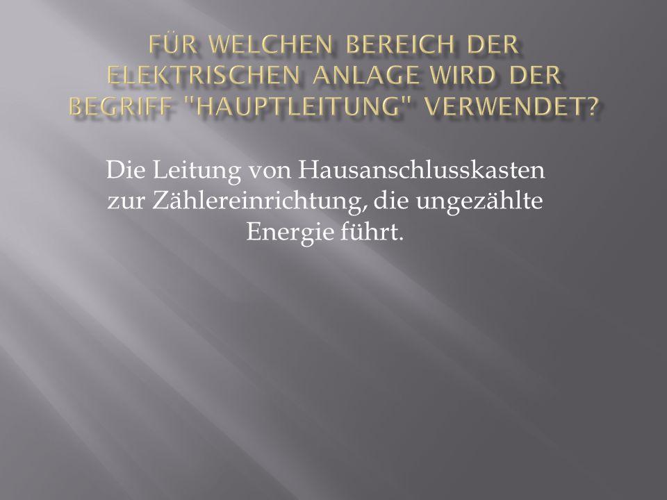 Für welchen Bereich der elektrischen Anlage wird der Begriff Hauptleitung verwendet