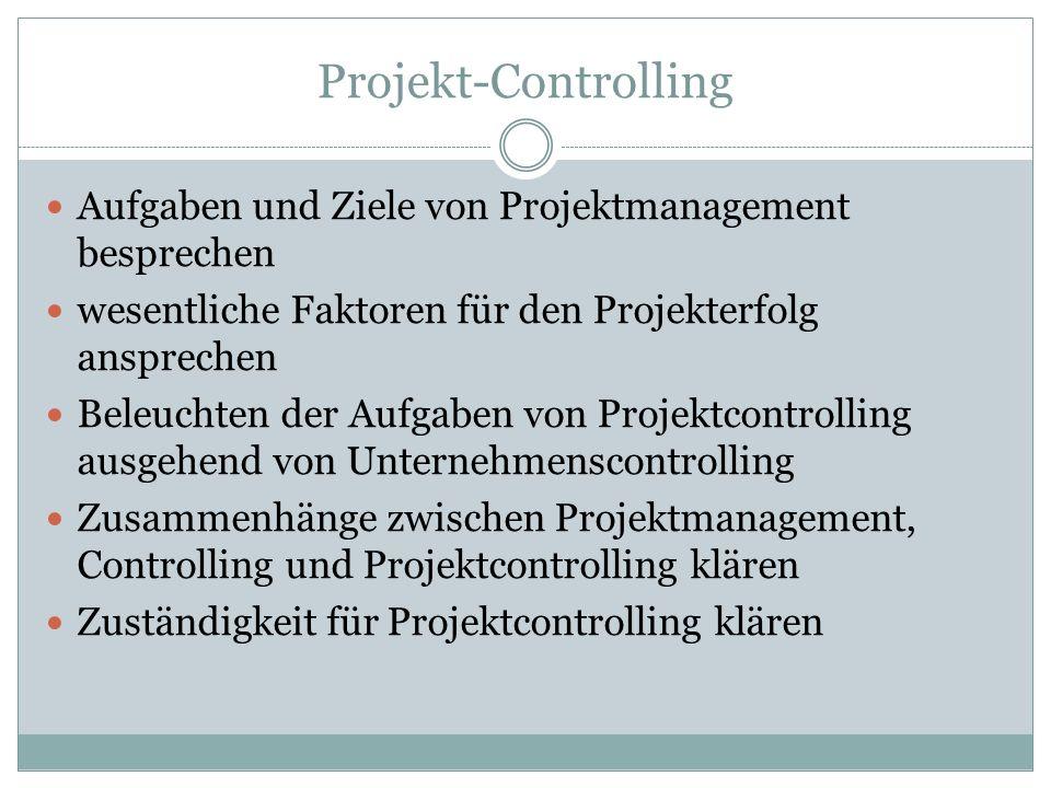 Projekt-Controlling Aufgaben und Ziele von Projektmanagement besprechen. wesentliche Faktoren für den Projekterfolg ansprechen.