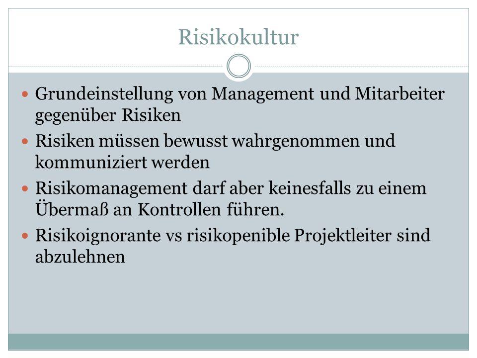 Risikokultur Grundeinstellung von Management und Mitarbeiter gegenüber Risiken. Risiken müssen bewusst wahrgenommen und kommuniziert werden.