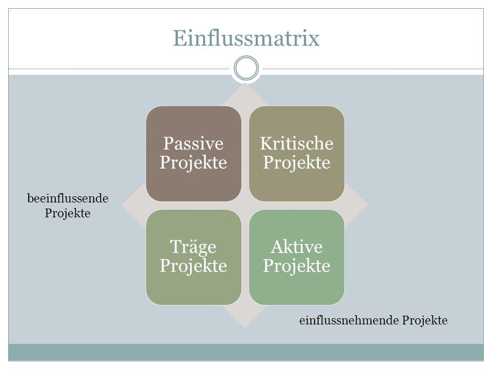 Einflussmatrix beeinflussende Projekte einflussnehmende Projekte