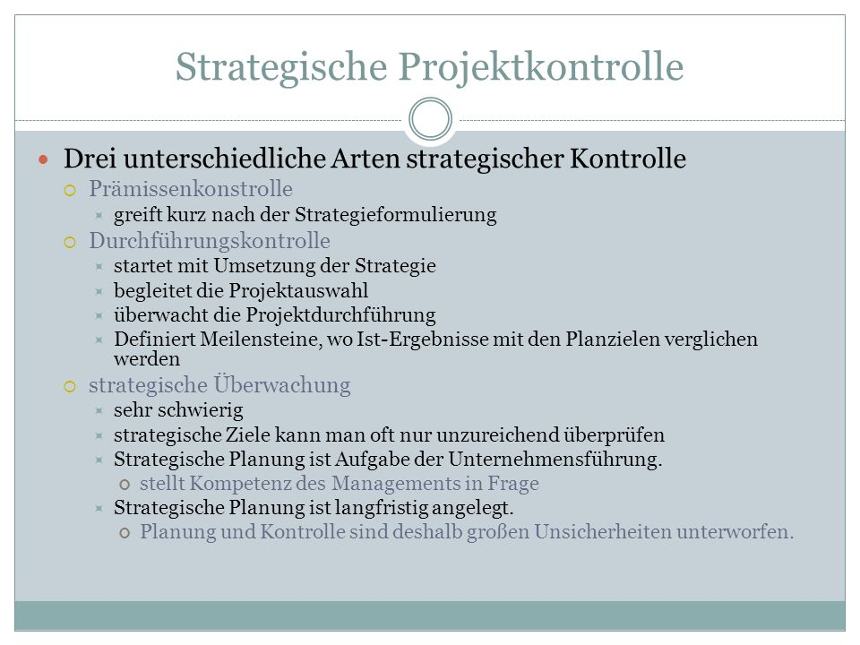 Strategische Projektkontrolle