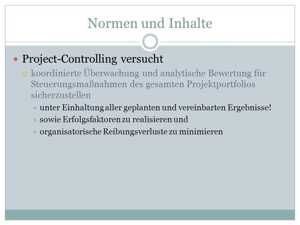 Normen und Inhalte Project-Controlling versucht