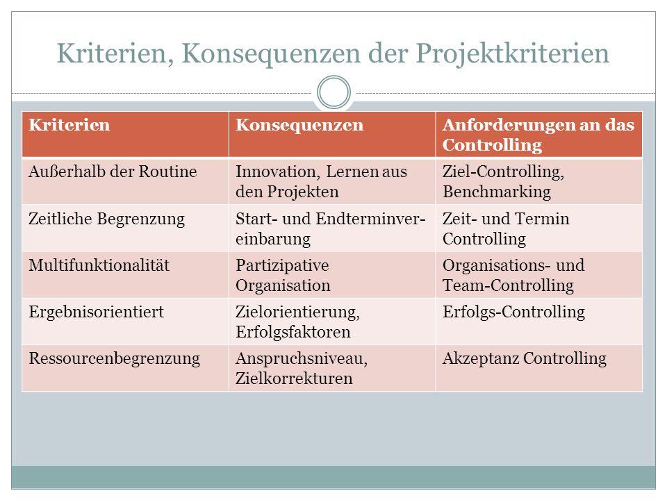 Kriterien, Konsequenzen der Projektkriterien