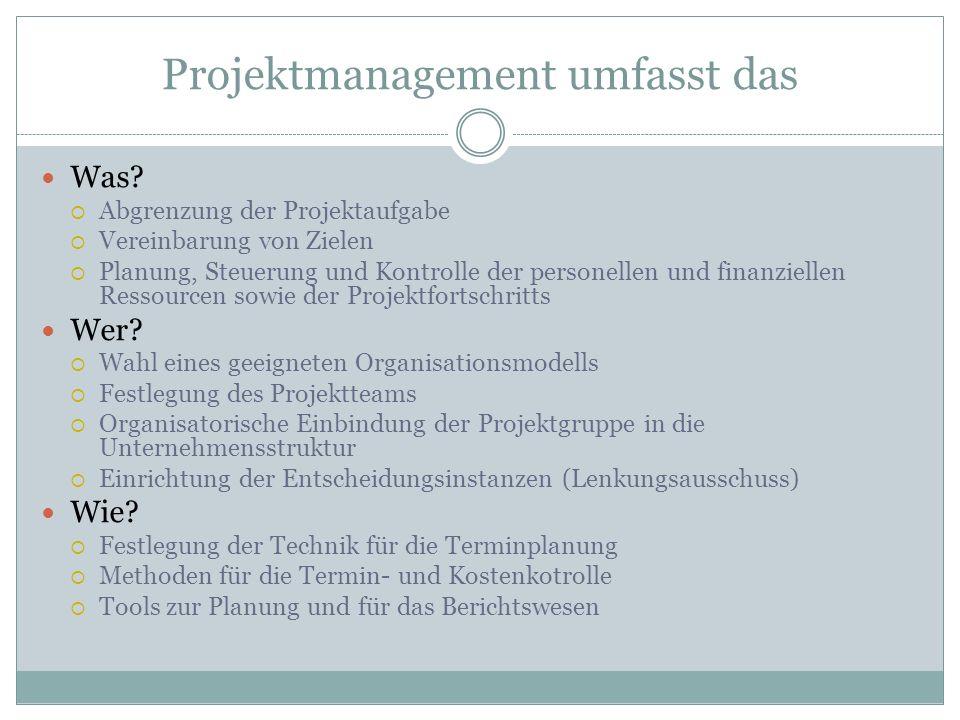 Projektmanagement umfasst das