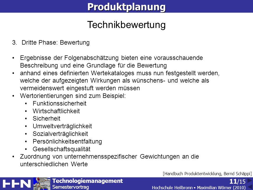Produktplanung Technikbewertung Dritte Phase: Bewertung