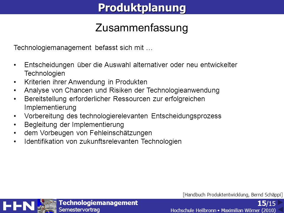 Produktplanung Zusammenfassung