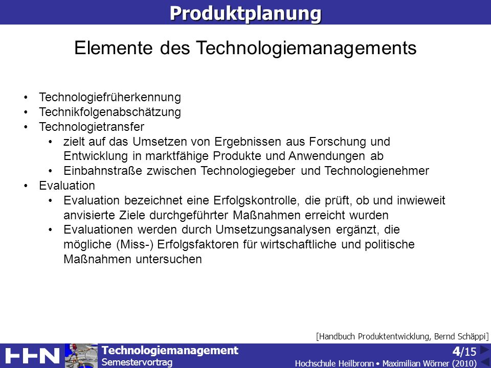 Elemente des Technologiemanagements