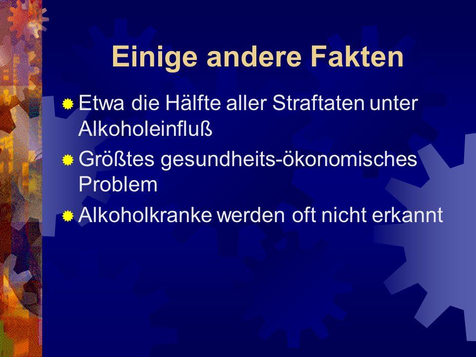 Einige andere Fakten Etwa die Hälfte aller Straftaten unter Alkoholeinfluß. Größtes gesundheits-ökonomisches Problem.