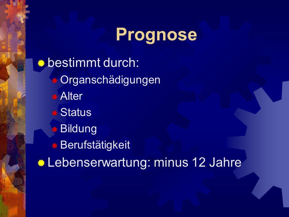 Prognose bestimmt durch: Lebenserwartung: minus 12 Jahre