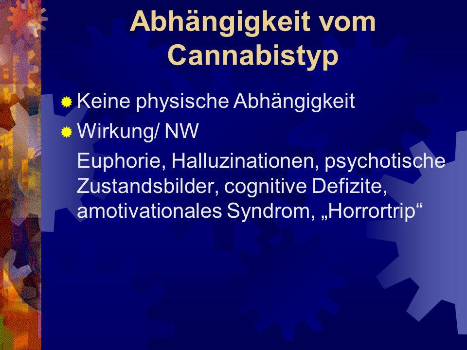 Abhängigkeit vom Cannabistyp