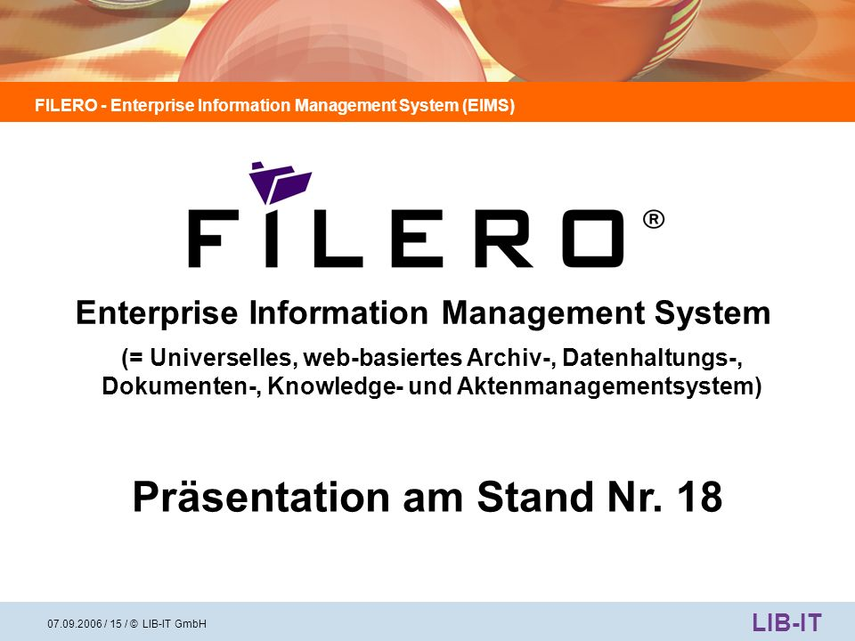 Enterprise Information Management System Präsentation am Stand Nr. 18