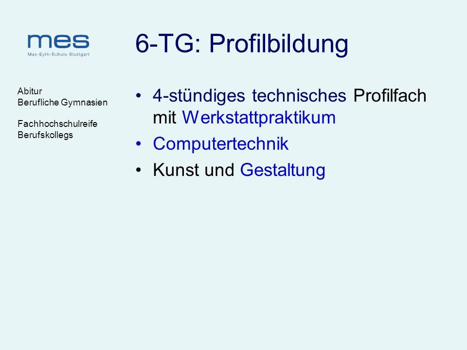6-TG: Profilbildung Abitur. Berufliche Gymnasien. Fachhochschulreife. Berufskollegs. 4-stündiges technisches Profilfach mit Werkstattpraktikum.