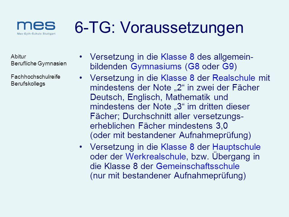 6-TG: Voraussetzungen Abitur. Berufliche Gymnasien. Fachhochschulreife. Berufskollegs.