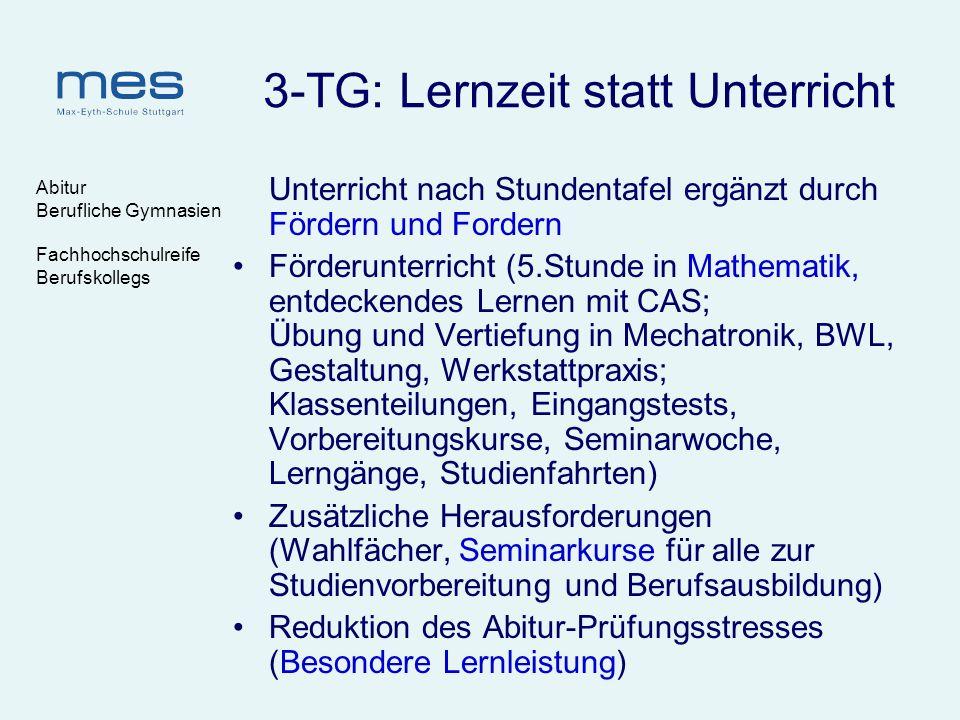 3-TG: Lernzeit statt Unterricht