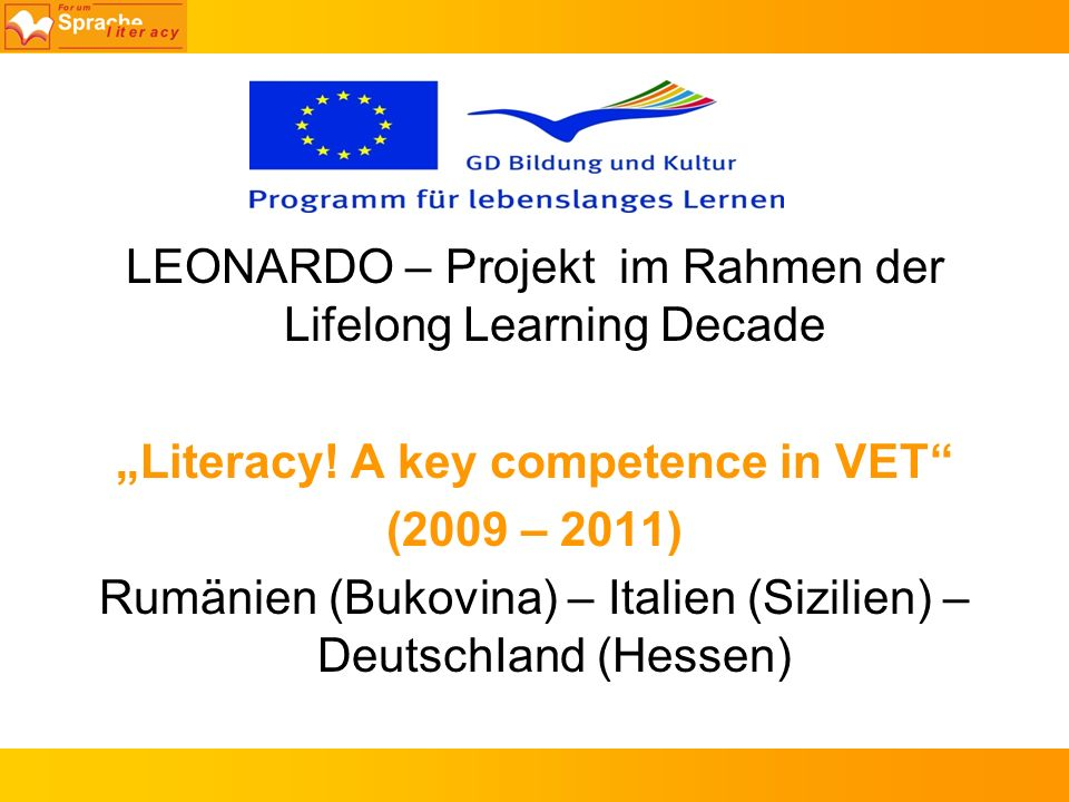 """Literacy! A key competence in VET"