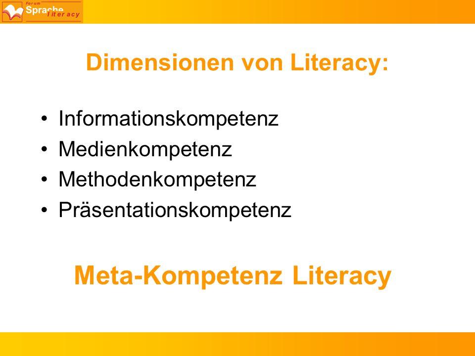 Dimensionen von Literacy: