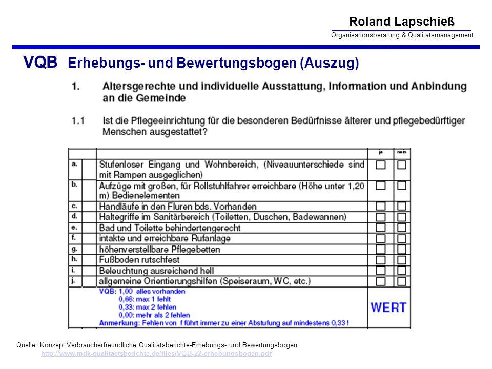 VQB Erhebungs- und Bewertungsbogen (Auszug)