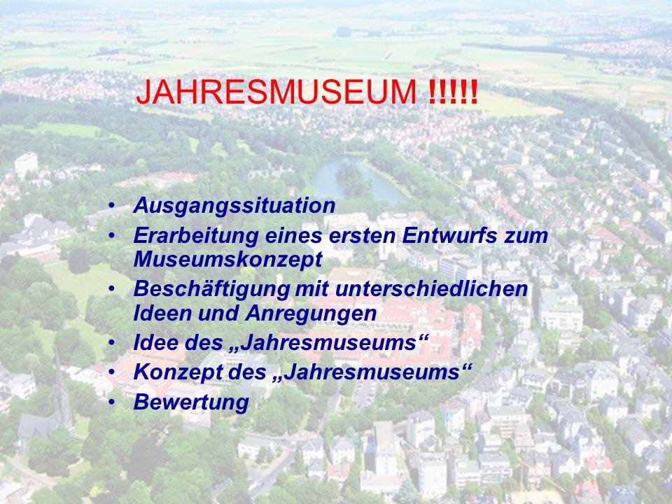 JAHRESMUSEUM !!!!! Ausgangssituation
