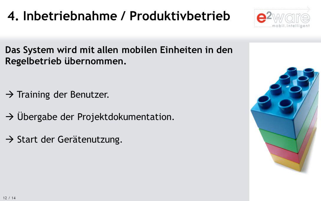 4. Inbetriebnahme / Produktivbetrieb