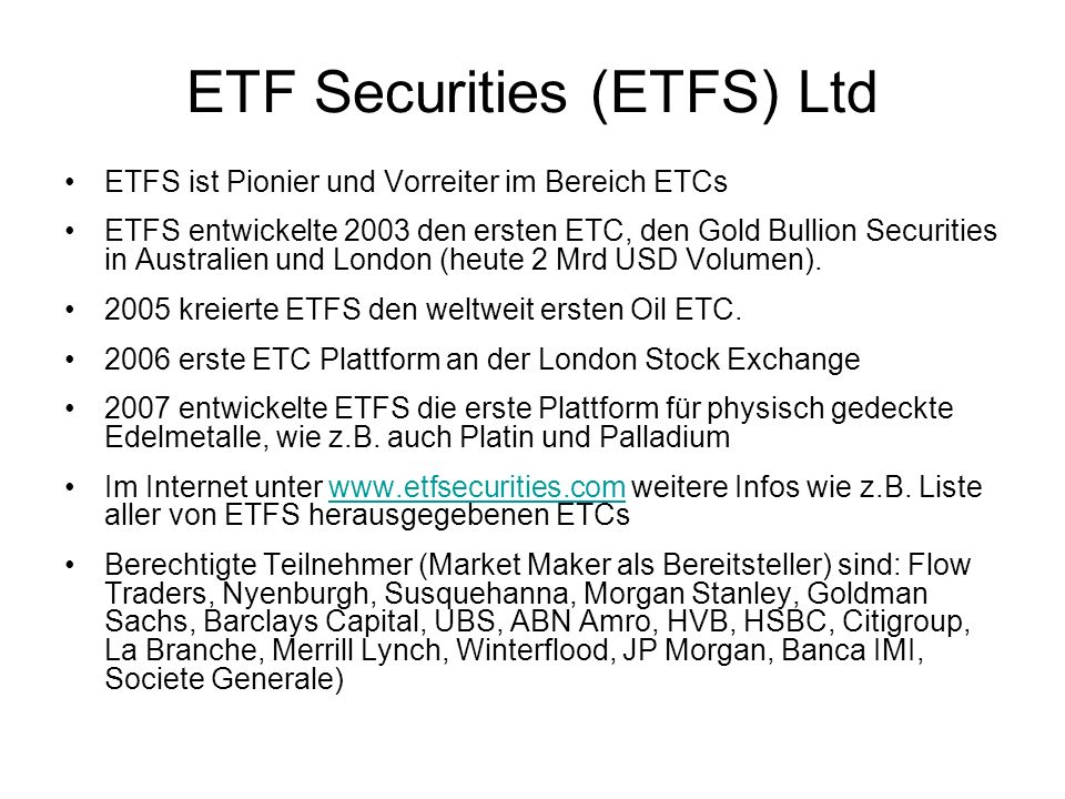 ETF Securities (ETFS) Ltd