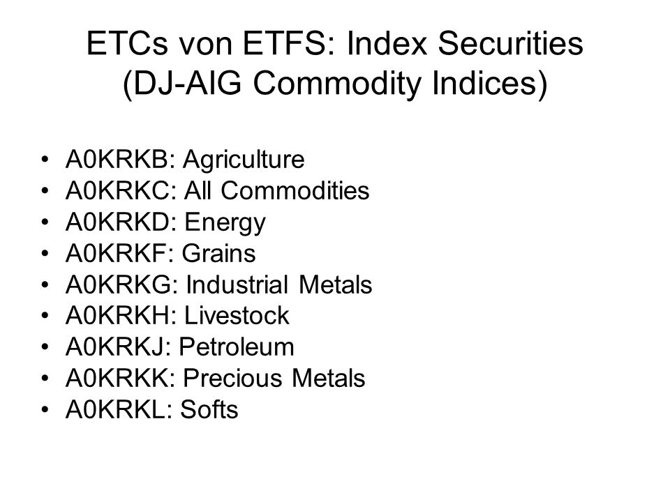 ETCs von ETFS: Index Securities (DJ-AIG Commodity Indices)