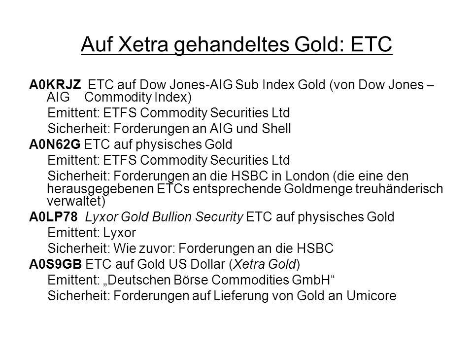 Auf Xetra gehandeltes Gold: ETC