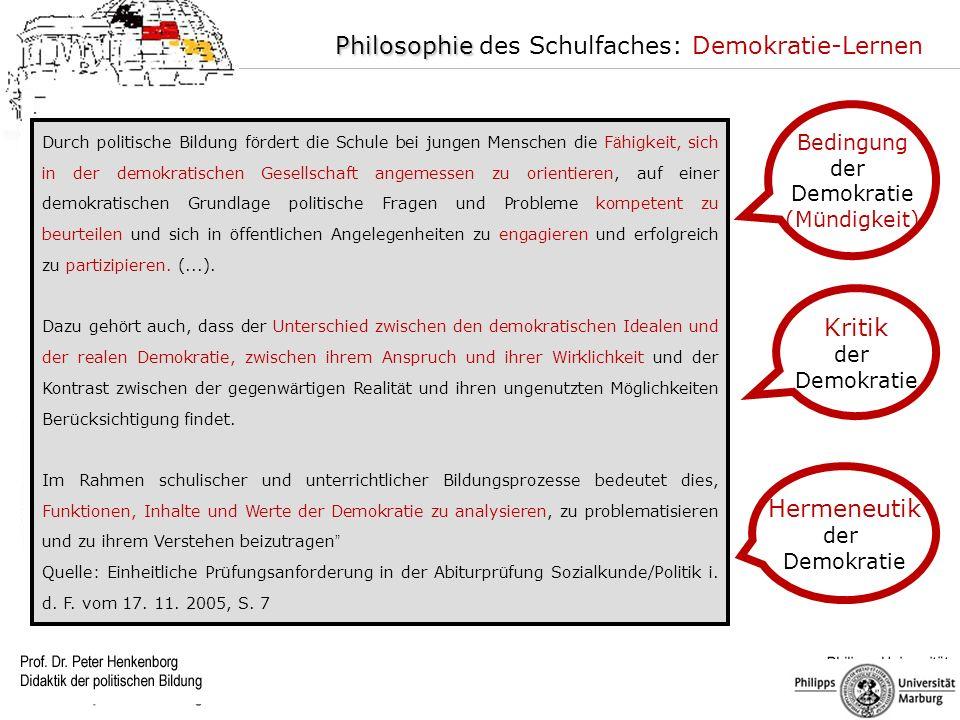 Philosophie des Schulfaches: Demokratie-Lernen