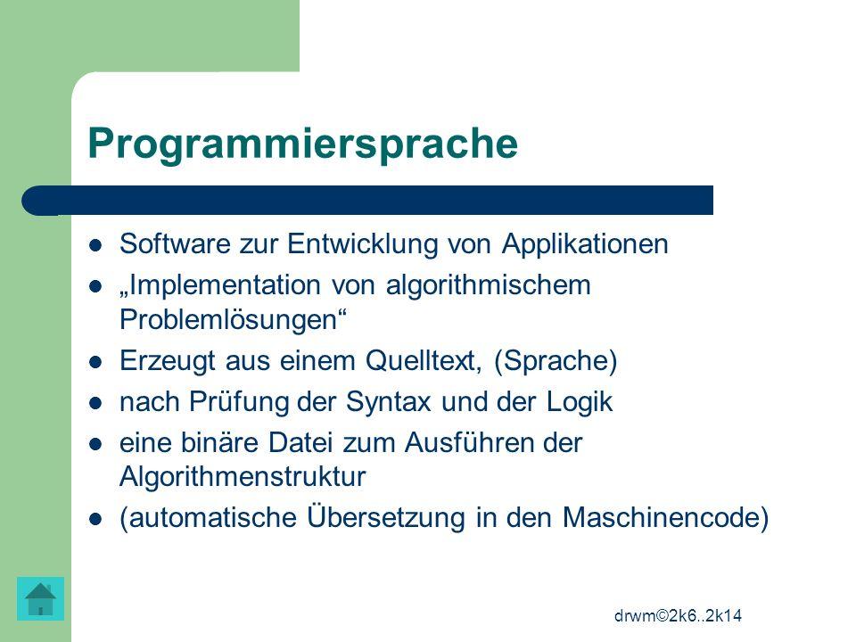 Programmiersprache Software zur Entwicklung von Applikationen