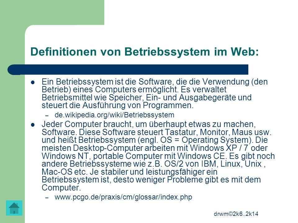 Definitionen von Betriebssystem im Web: