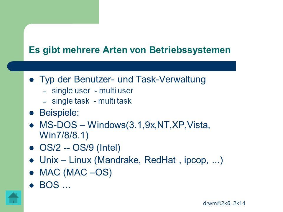 Es gibt mehrere Arten von Betriebssystemen