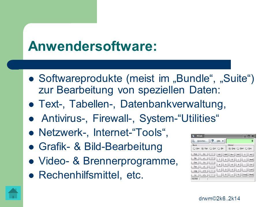 """Anwendersoftware: Softwareprodukte (meist im """"Bundle , """"Suite ) zur Bearbeitung von speziellen Daten:"""