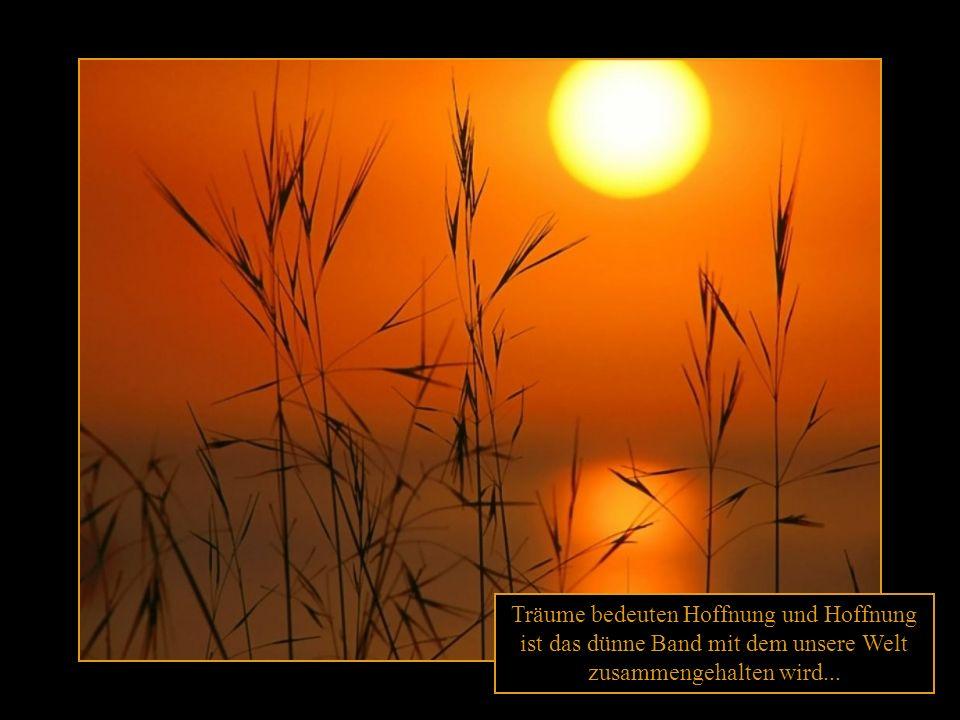Träume bedeuten Hoffnung und Hoffnung ist das dünne Band mit dem unsere Welt zusammengehalten wird...
