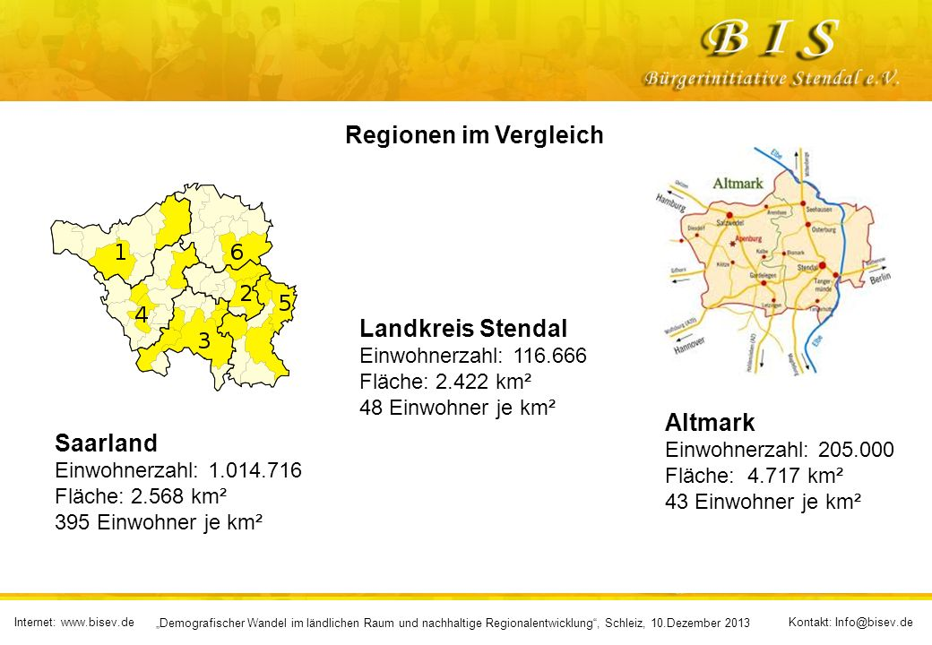 Regionen im Vergleich Landkreis Stendal Altmark Saarland