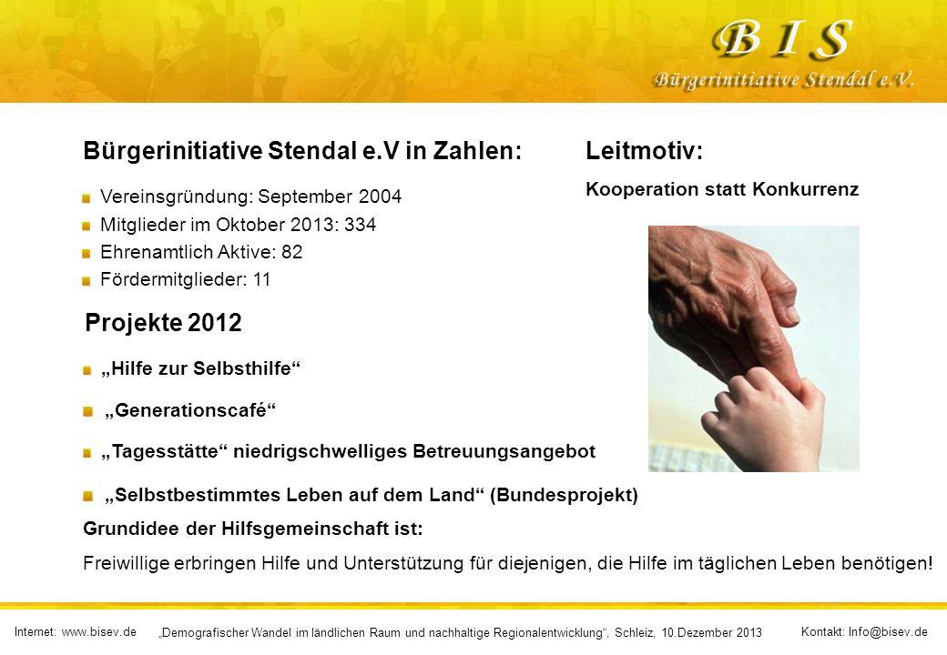 Bürgerinitiative Stendal e.V in Zahlen: Leitmotiv: