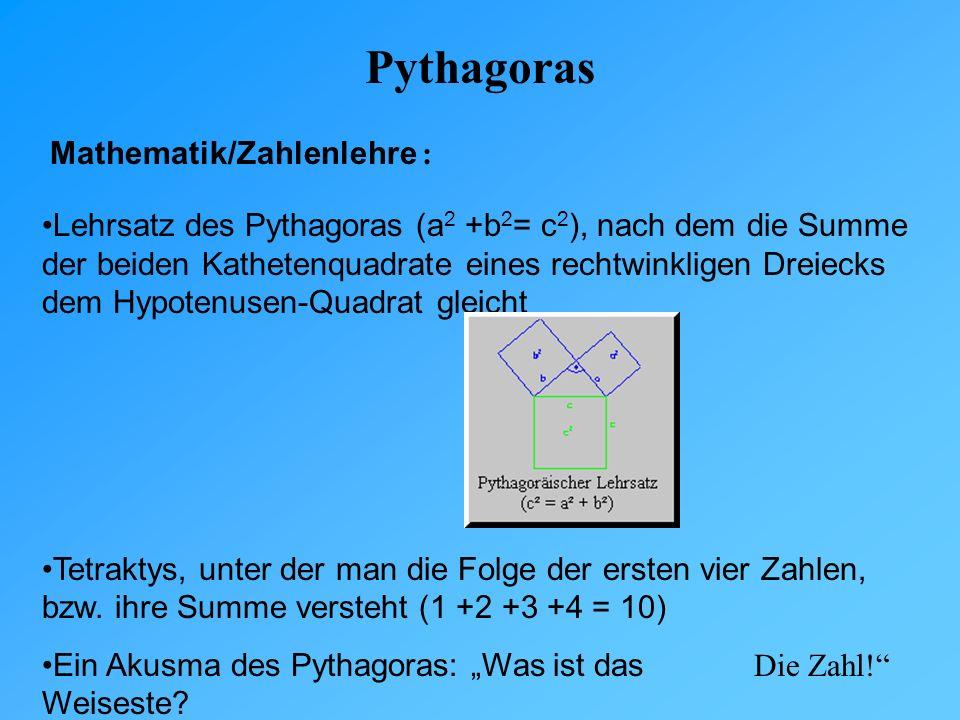 Pythagoras Mathematik/Zahlenlehre :