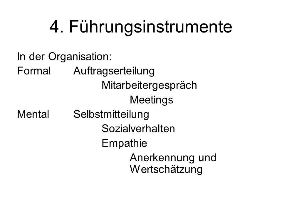 4. Führungsinstrumente In der Organisation: Formal Auftragserteilung
