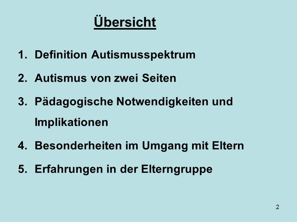 Übersicht Definition Autismusspektrum Autismus von zwei Seiten