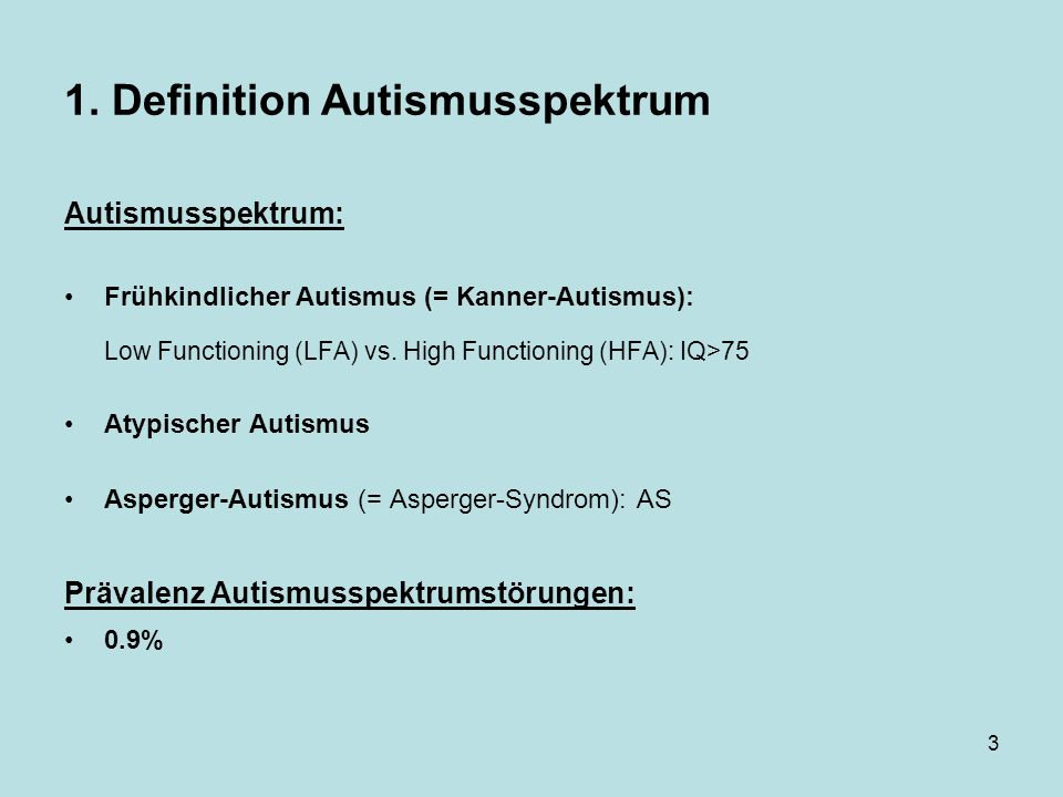 1. Definition Autismusspektrum