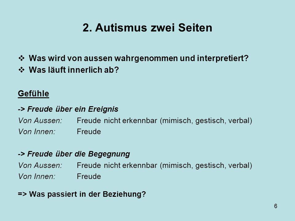 2. Autismus zwei Seiten Was wird von aussen wahrgenommen und interpretiert Was läuft innerlich ab