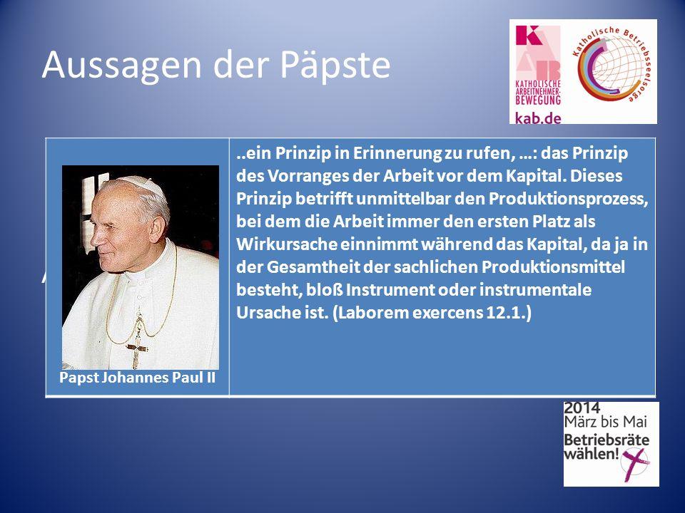 Aussagen der Päpste Aussagen der Päpste