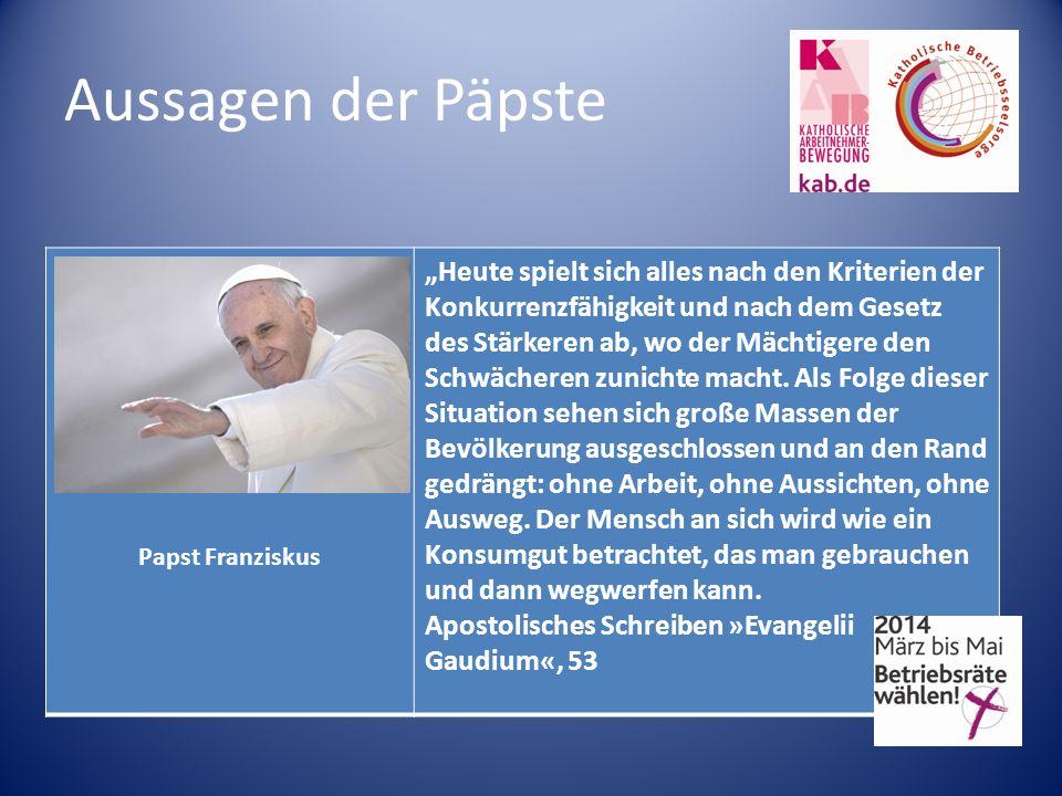 Aussagen der Päpste Papst Franziskus.