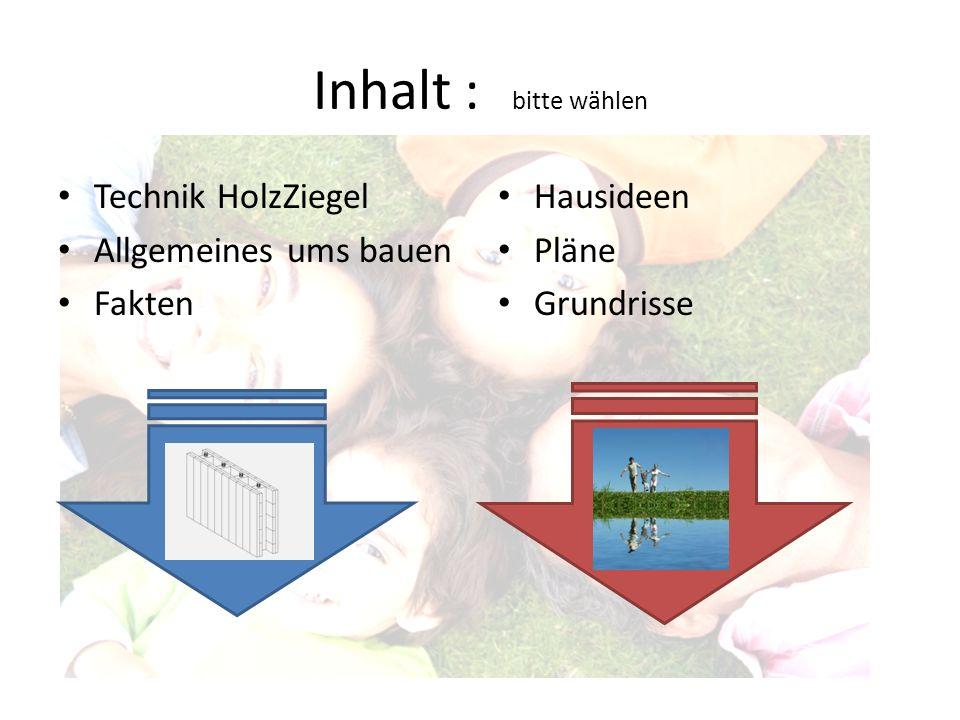 Inhalt : bitte wählen Technik HolzZiegel Allgemeines ums bauen Fakten