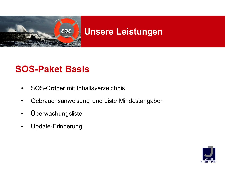 SOS-Paket Basis Unsere Leistungen SOS-Ordner mit Inhaltsverzeichnis