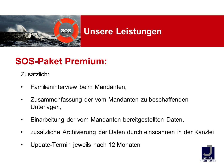SOS-Paket Premium: Unsere Leistungen Zusätzlich: